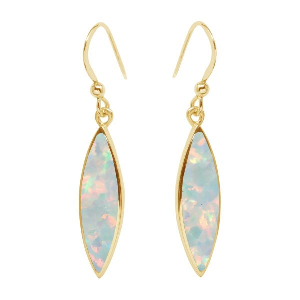 Yellow Gold Opalite Sun Drop Earrings