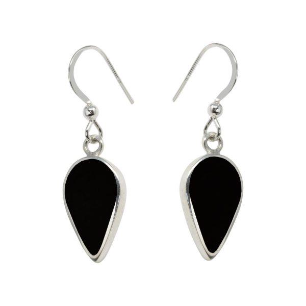Silver Whitby Jet Drop Earrings