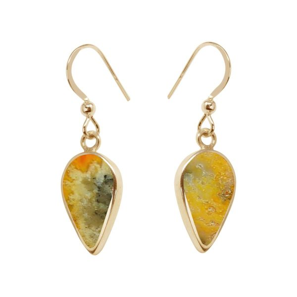 Yellow Gold Bumblebee Jasper Drop Earrings