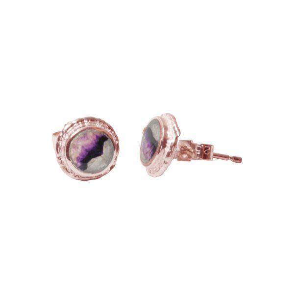Rose Gold Blue John Round Stud Earrings