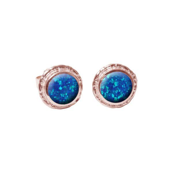 Rose Gold Cobalt Blue Round Stud Earrings