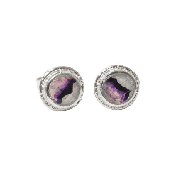 Silver Blue John Round Stud Earrings