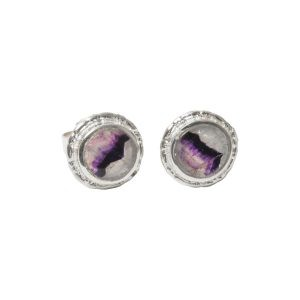 Silver Blue John Round Stud Earrings Beaded Edge