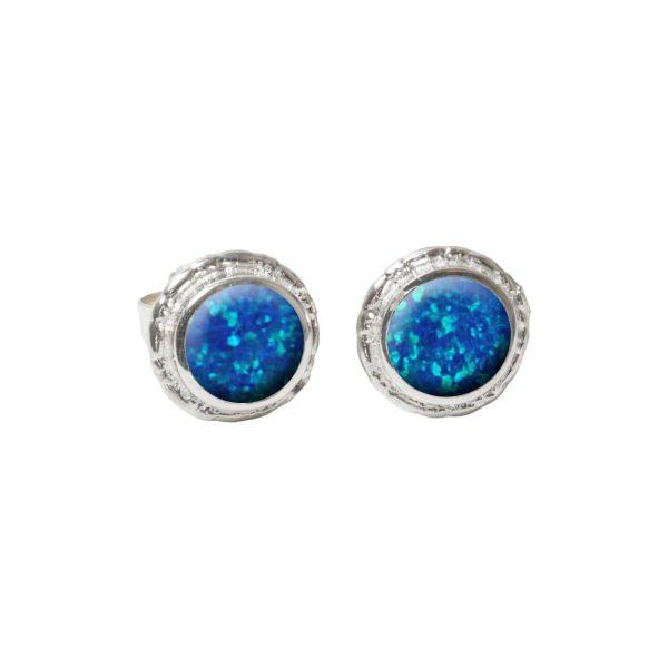 Silver Cobalt Blue Opalite Round Stud Earrings