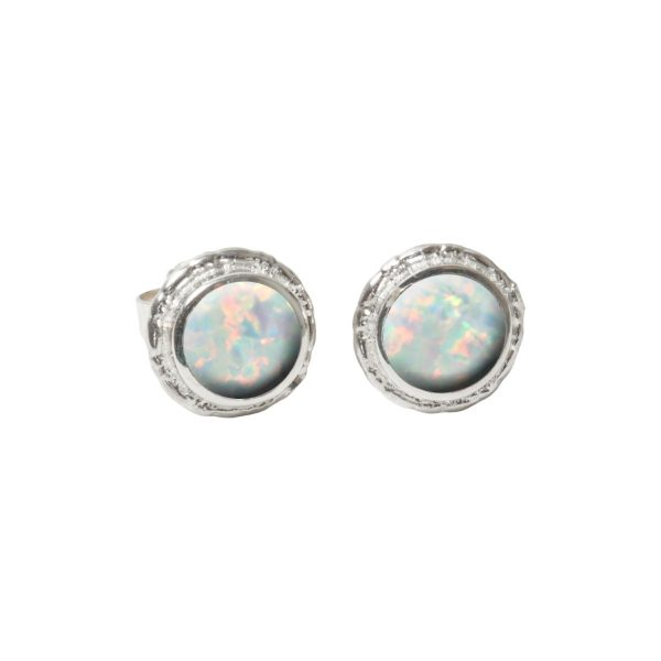 Silver Sun Ice Opalite Round Stud Earrings