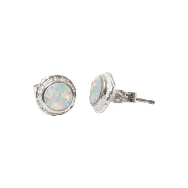 Silver Opalite Round Stud Earrings