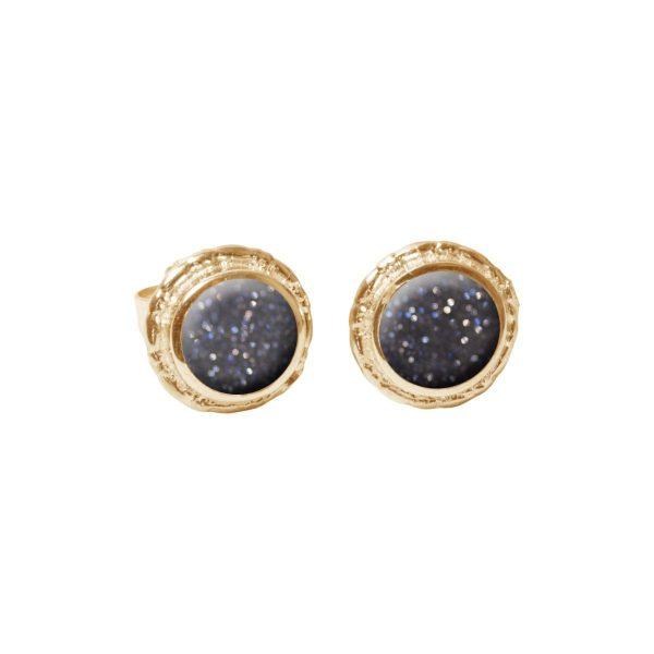 Gold Blue Goldstone Round Stud Earrings