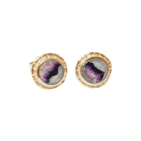 Gold Blue John Round Stud Earrings