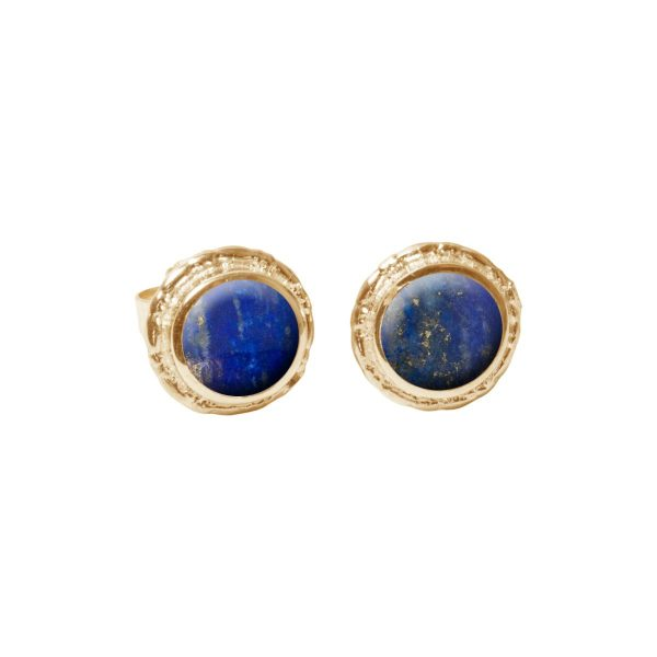 Gold Lapis Round Stud Earrings