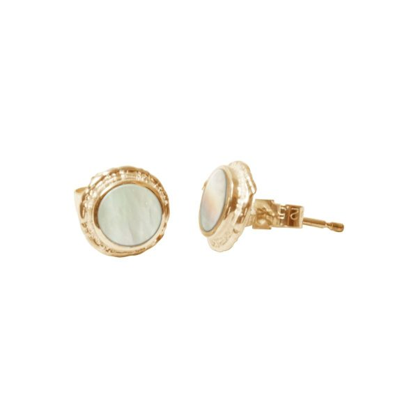 Gold Mother of Pearl Round Stud Earrings