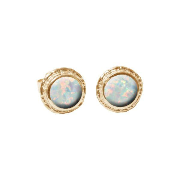 Gold Opalite Sun Ice Round Stud Earrings
