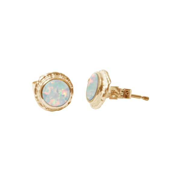 Gold Sun Ice Opalite Round Stud Earrings