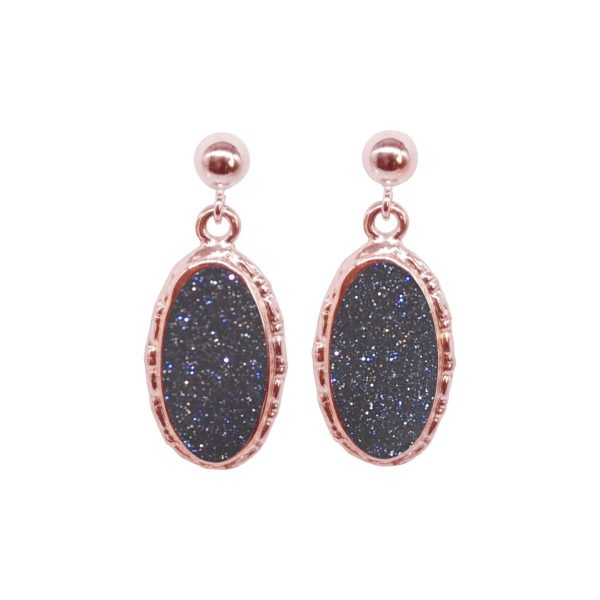 Rose Gold Blue Goldstone Oval Drop Earrings