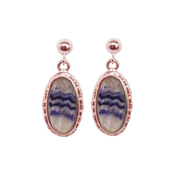 Rose Gold Blue John Oval Drop Earrings