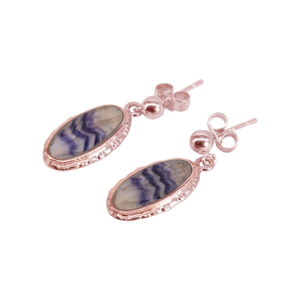 Rose Gold Blue John Oval Stud Earrings