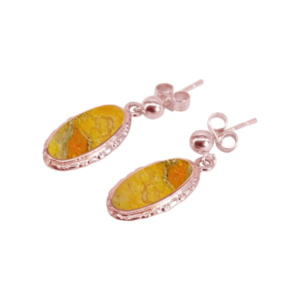 Rose Gold Bumblebee Jasper Oval Drop Earrings