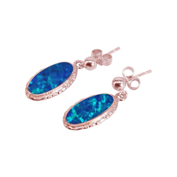 Rose Gold Opalite Cobalt Blue Oval Drop Earrings