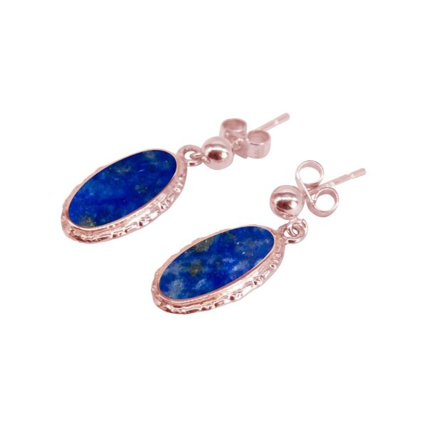 Rose Gold Lapis Oval Drop Earrings
