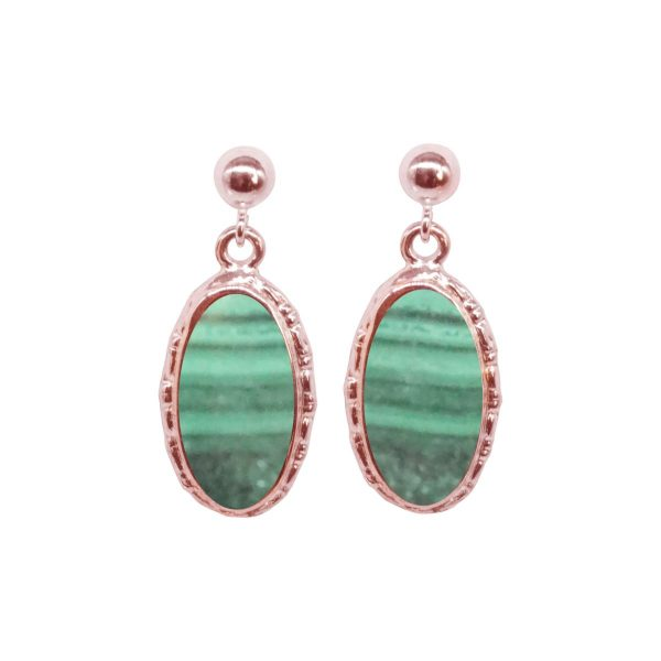 Rose Gold Malachite Oval Drop Earrings