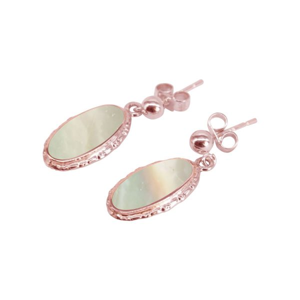 Rose Gold Mother of Pearl Oval Drop Earrings