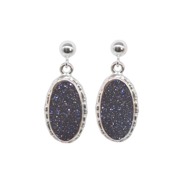 Silver Blue Goldstone Oval Drop Earrings