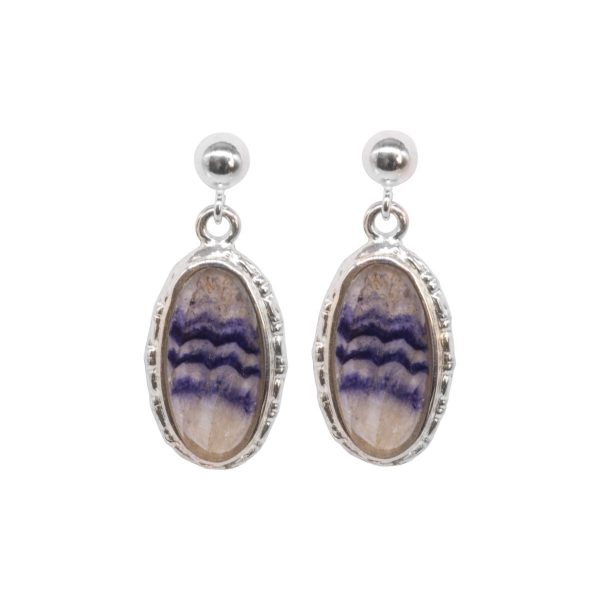 Silver Oval Blue John Beaded Edge Drop Earrings