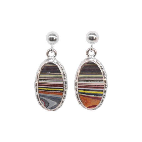 Silver Fordite Oval Drop Earrings