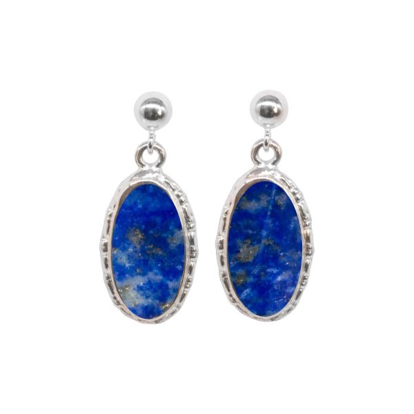 Silver Lapis Oval Drop Earrings