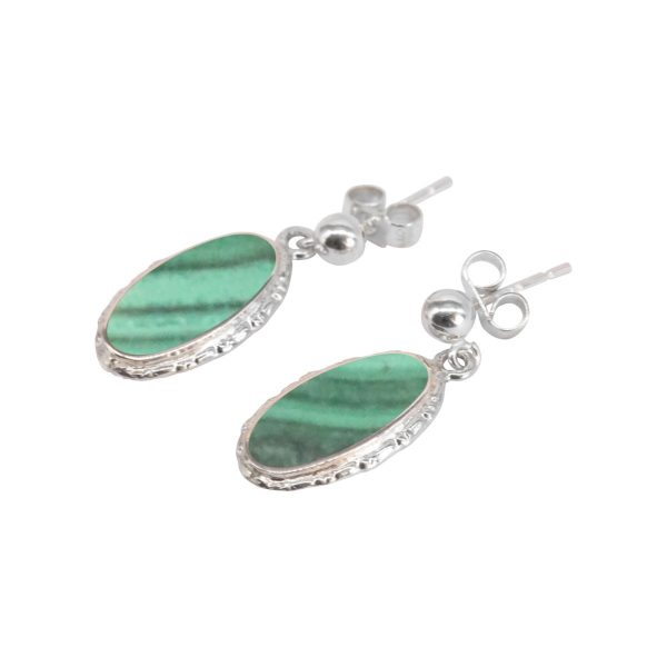 Silver Malachite Oval Drop Earrings