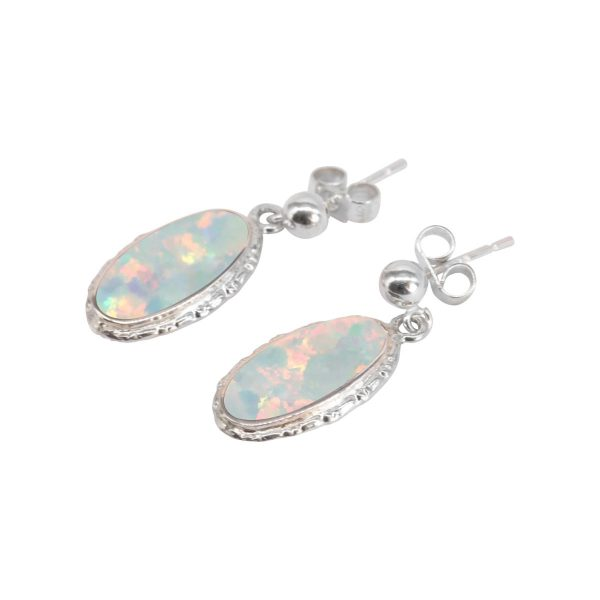 Silver Opalite Sun Ice Oval Drop Earrings