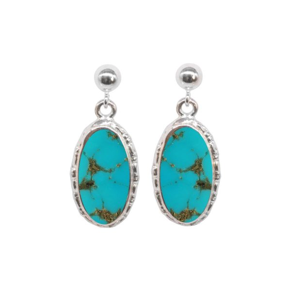 Silver Turquoise Oval Drop Earrings