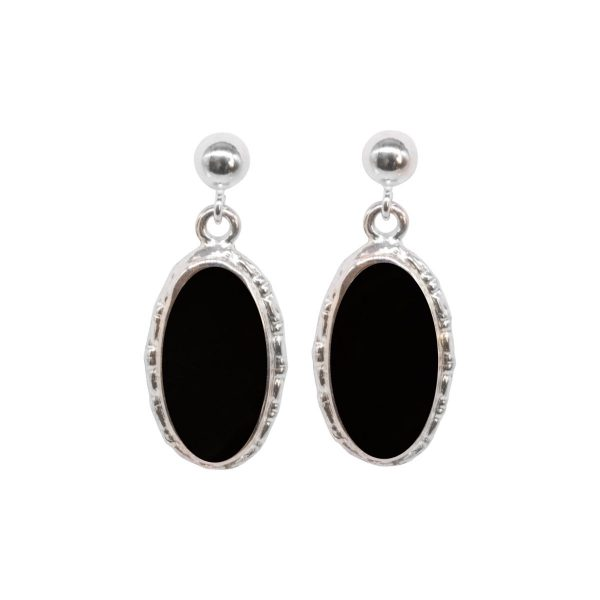Silver Whitby Jet Oval Drop Earrings