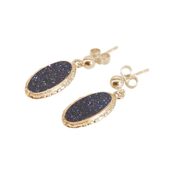 Gold Blue Goldstone Oval Drop Earrings