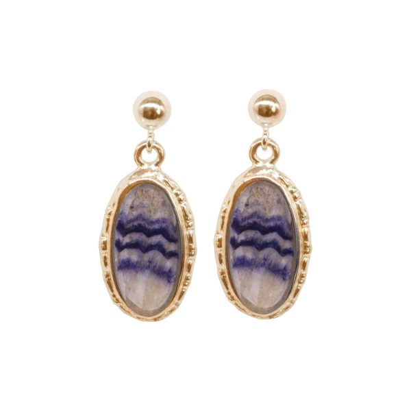 Gold Blue John Oval Drop Earrings