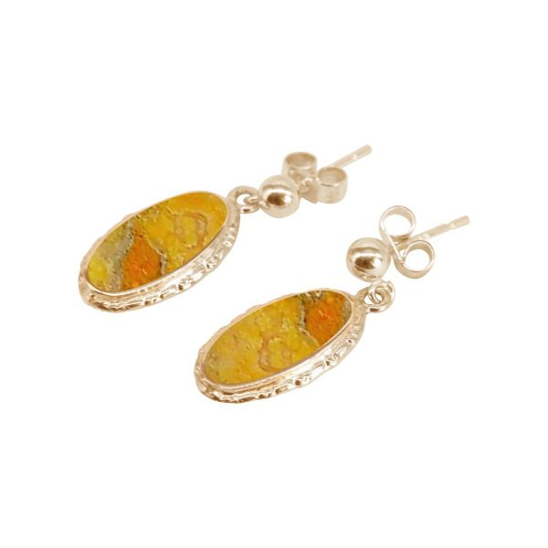 Gold Bumblebee Jasper Oval Drop Earrings