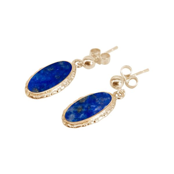 Gold Lapis Oval Drop Earrings