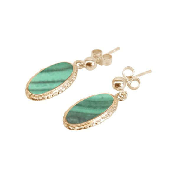 Gold Malachite Oval Drop Earrings