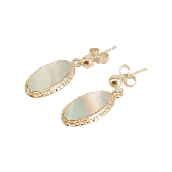 Gold Mother of Pearl Oval Drop Earrings