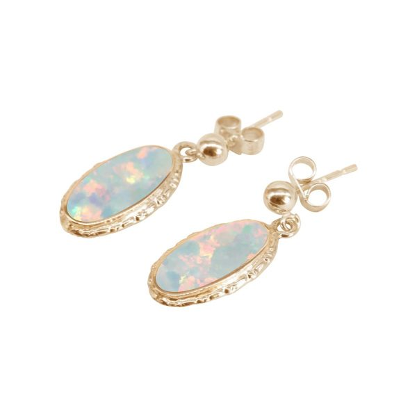 Gold Opalite Sun Ice Oval Drop Earrings