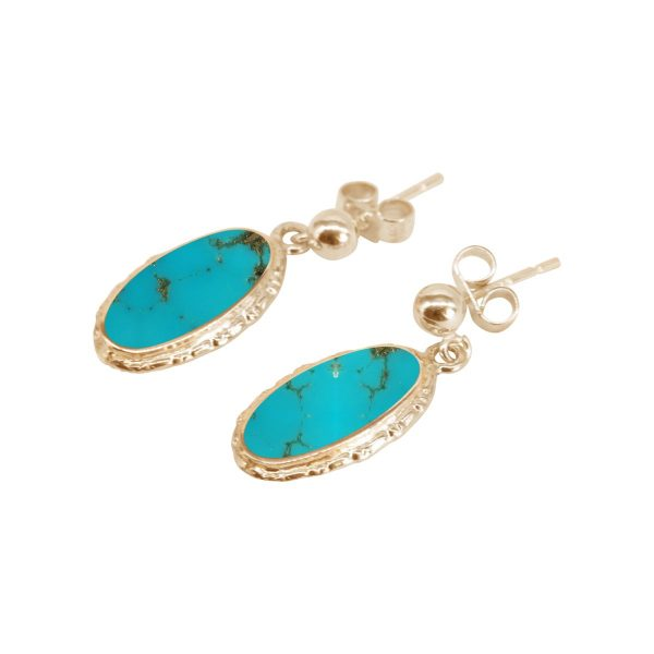 Gold Turquoise Oval Drop Earrings