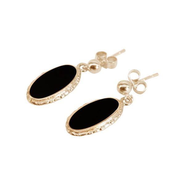 Gold Whitby Jet Oval Drop Earrings