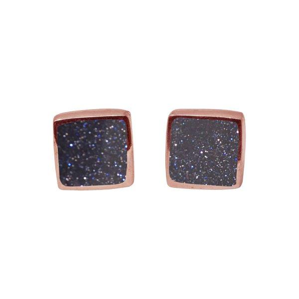 Rose Gold Blue Goldstone Square Stud Earrings