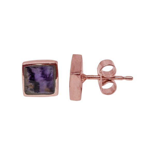 Rose Gold Blue John Square Stud Earrings