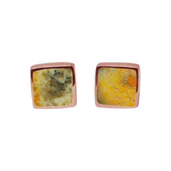 Rose Gold Bumblebee Jasper Square Stud Earrings
