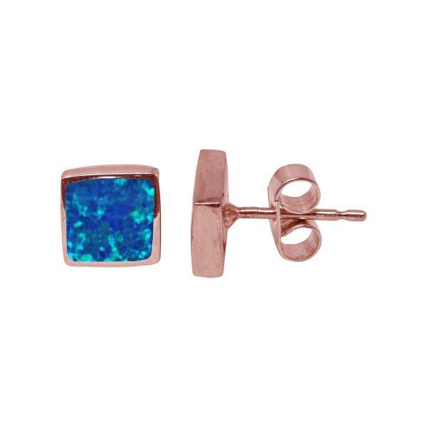 Rose Gold Cobalt Blue Opalite Square Stud Earrings
