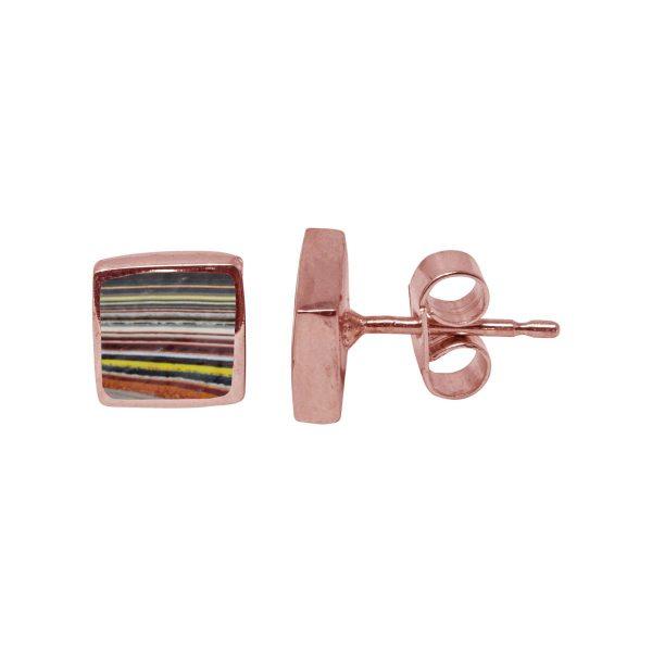 Rose Gold Fordite Square Stud Earrings