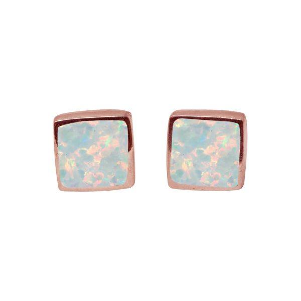 Rose Gold Sun Ice Opalite Square Stud Earrings