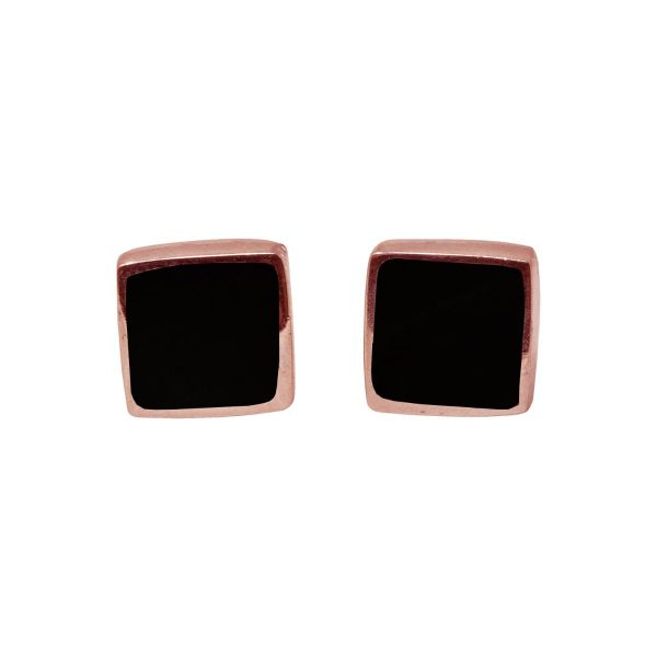 Rose Gold Whitby Jet Square Stud Earrings