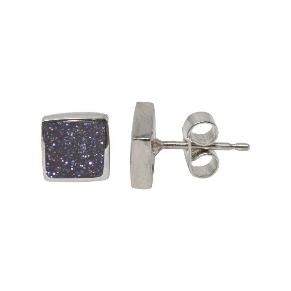 Silver Blue Goldstone Square Stud Earrings