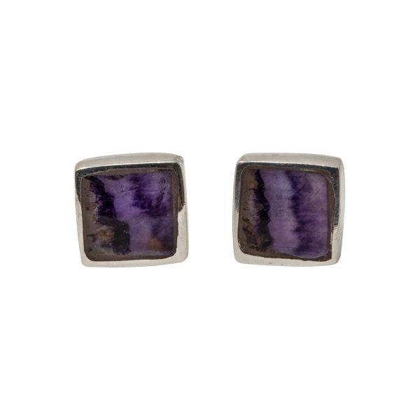 Silver Blue John Square Stud Earrings